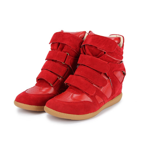 Red High Top Wedge Sneakers from Mizzue
